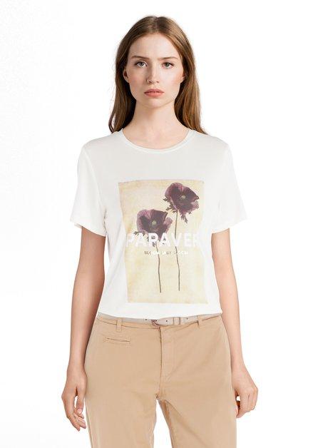 T-shirt écru avec imprimé avec fleurs