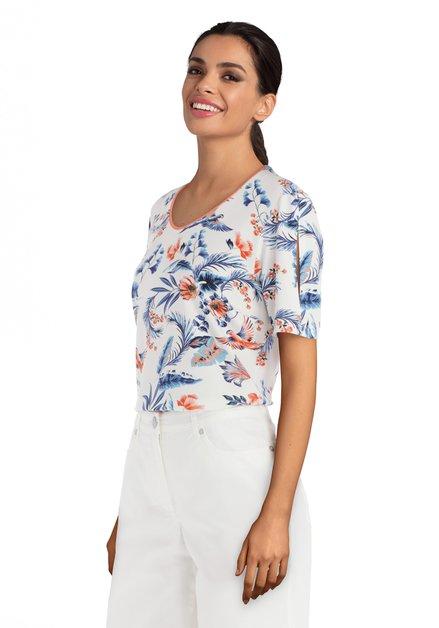 T-shirt écru avec imprimé tropical bleu-orange