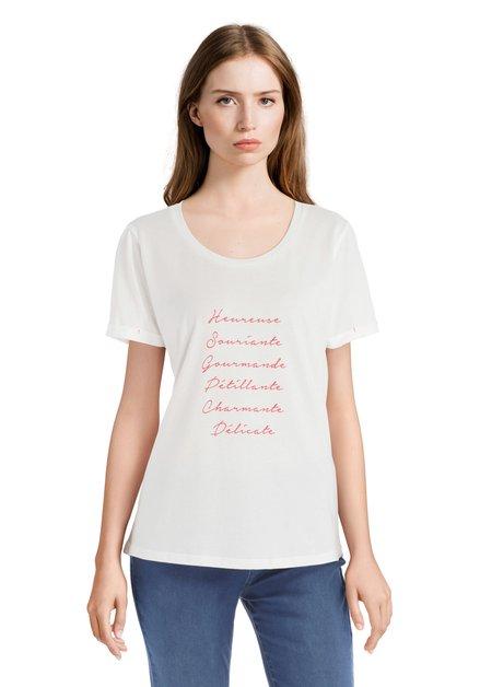 T-shirt écru avec inscriptions rouges