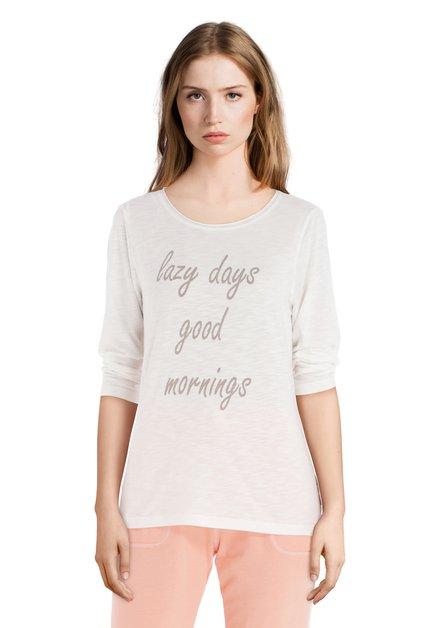 T-shirt écru 'Lazy Days' à col rond