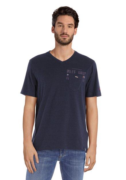T-shirt en coton bleu marine avec encolure en V