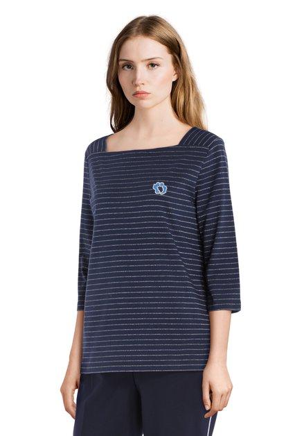 T-shirt en coton bleu marine avec lurex argenté
