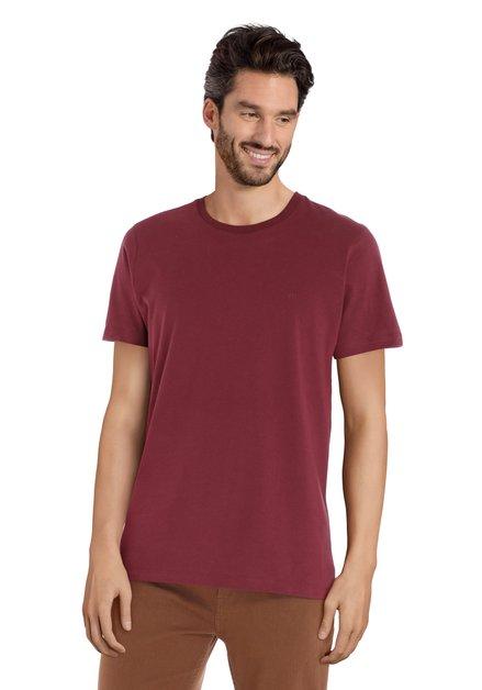 T-shirt en coton bordeaux à col rond côtelé
