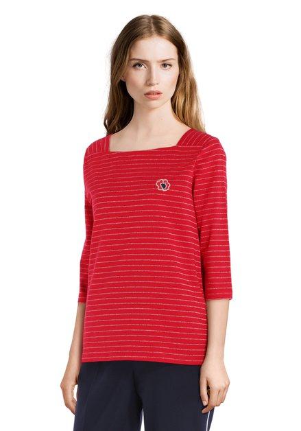 T-shirt en coton rouge avec lurex argenté