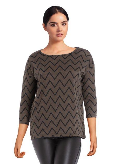 T-shirt gris à imprimé géométrique noir