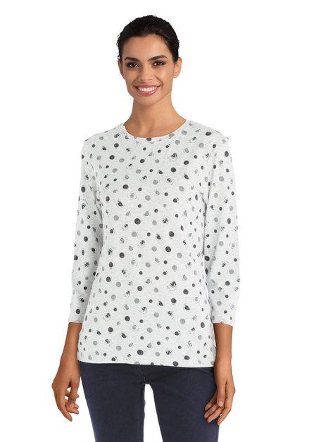 T-shirt gris à pois noirs