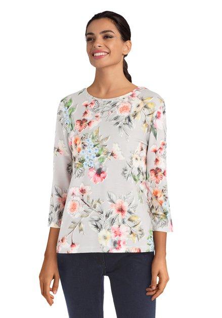 T-shirt gris avec fleurs colorées