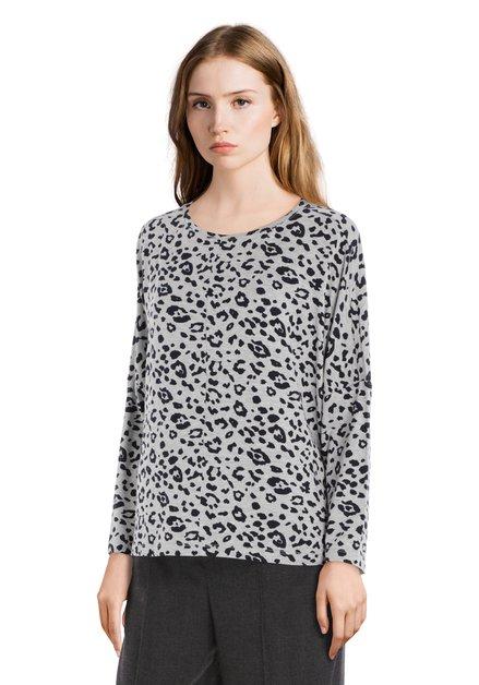 T-shirt gris avec imprimé panthère noire