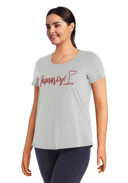 T-shirt gris avec inscription 'Junarosé'