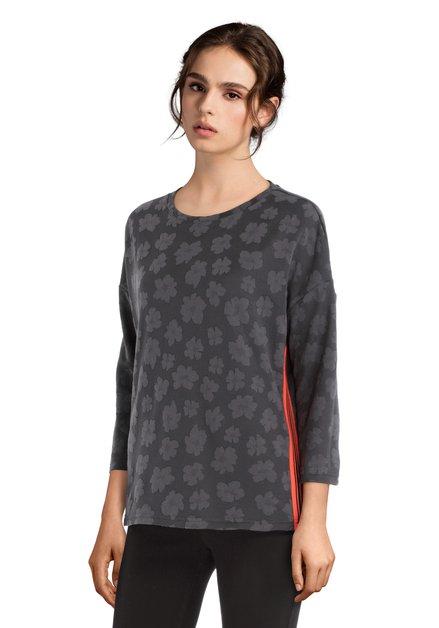 T-shirt gris foncé à fleurs et galons oranges