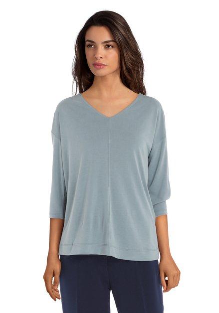 T-shirt gris-vert avec col en v en modal