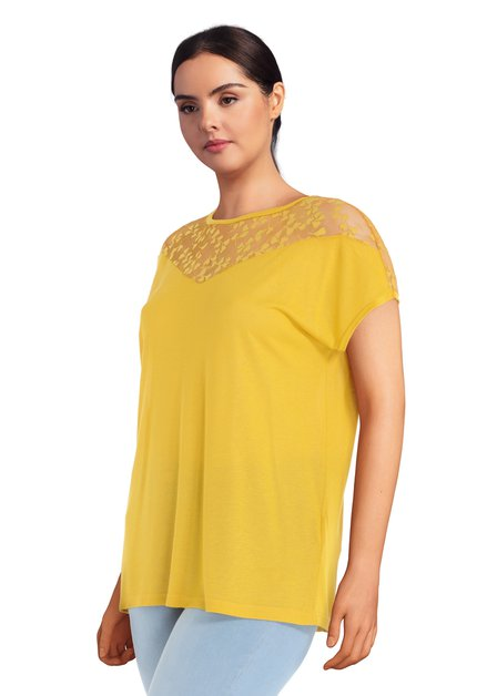 T-shirt jaune à dentelle
