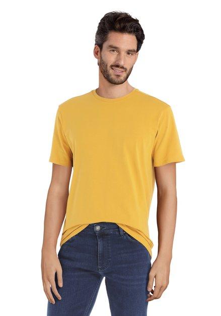 T-shirt jaune à encolure ronde