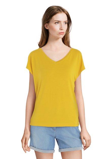 T-shirt jaune basique à encolure en V