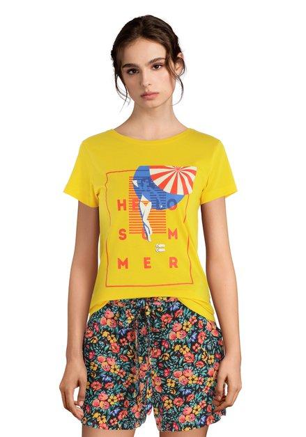 T-shirt jaune « Hello summer»