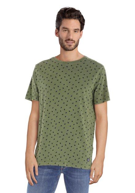 T-shirt kaki à col rond
