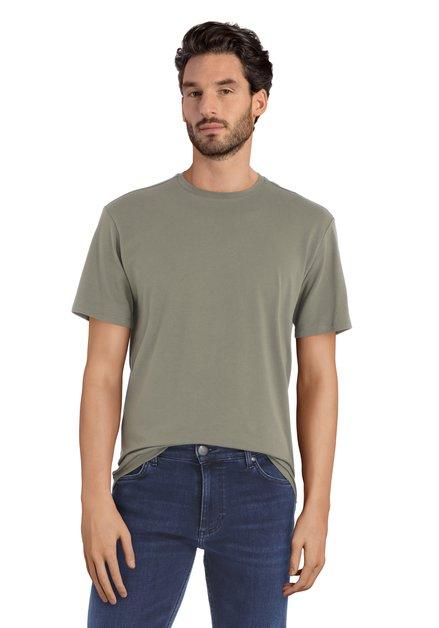 T-shirt kaki à encolure ronde