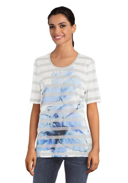 T-shirt ligné à fleurs bleues