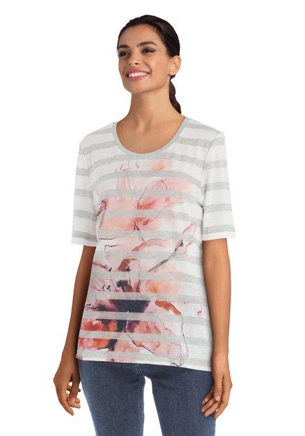 T-shirt ligné à fleurs roses