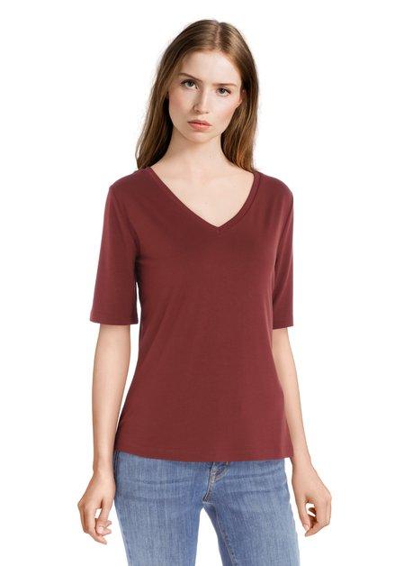 T-shirt marron à col en v en modal