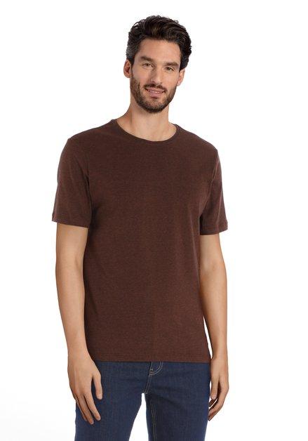 T-shirt marron à col rond