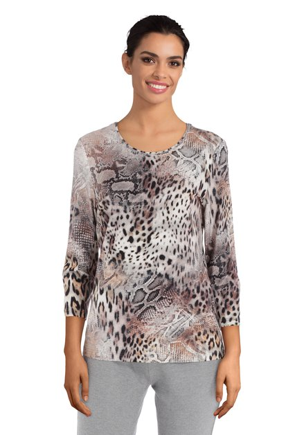T-shirt marron à imprimé léopard