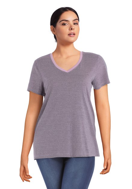 T-shirt mauve à encolure en V