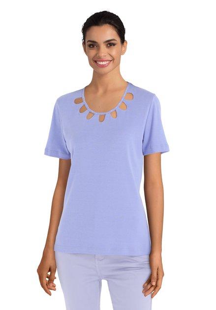 T-shirt mauve avec découpures et strass