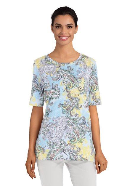 T-shirt met blauw en geel Paisley motief