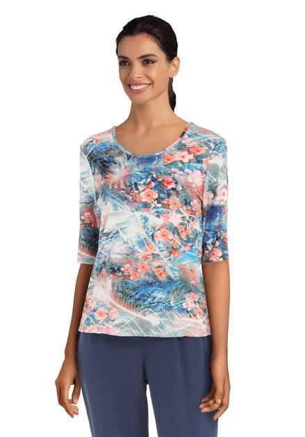 T-shirt met blauw en rode tropische print