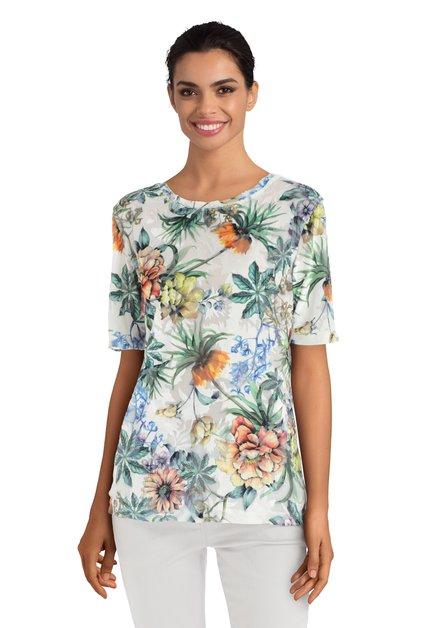 T-shirt met bloemen en structuurstof