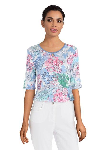 T-shirt met roze en blauwe bloemen