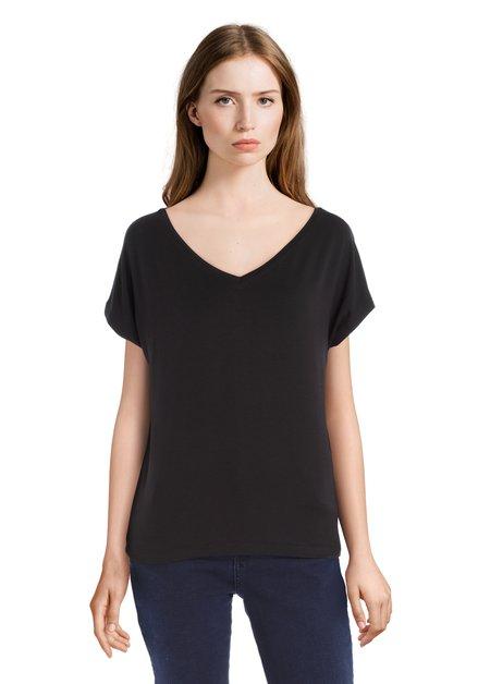T-shirt noir basique à encolure en V