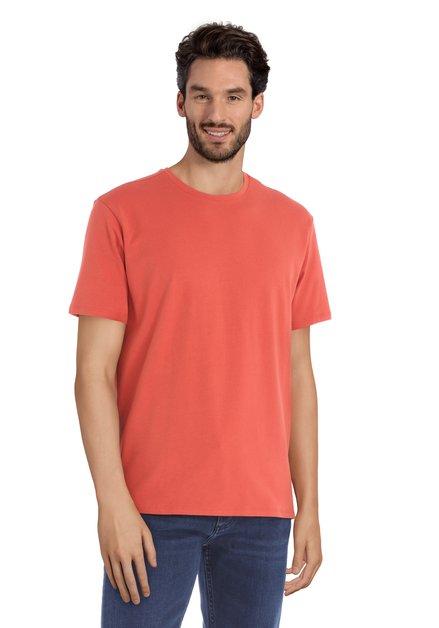 T-shirt orange à encolure ronde