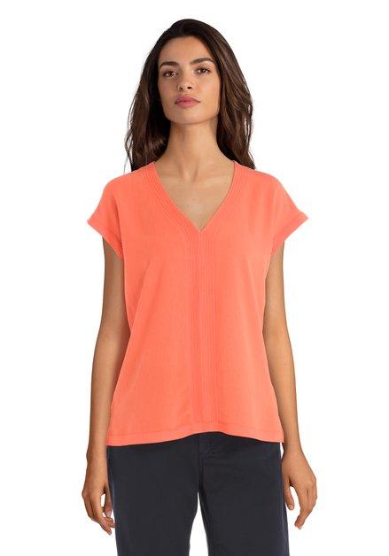 T-shirt orange avec col en V