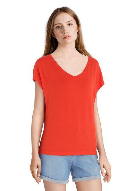 T-shirt orange basique à encolure en V