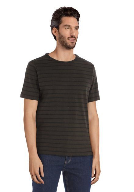 T-shirt rayé kaki à col rond