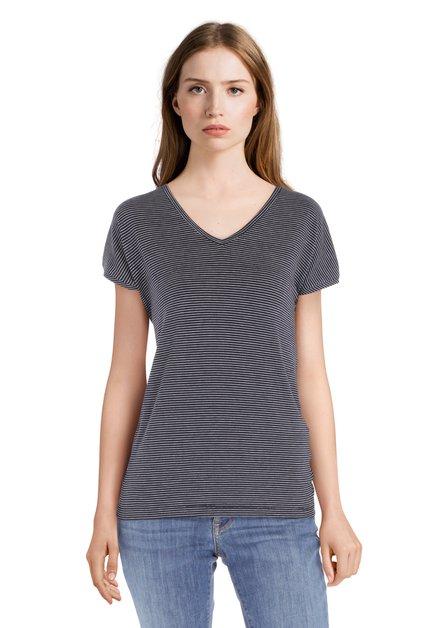 T-shirt rayé noir et blanc avec col en V