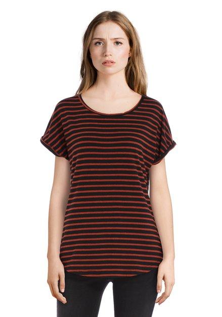 T-shirt rayé noir et brun avec revers