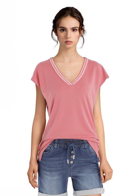 T-shirt rose à encolure en V
