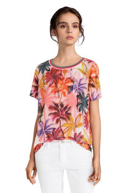 T-shirt rose avec imprimé à palmiers multicolores