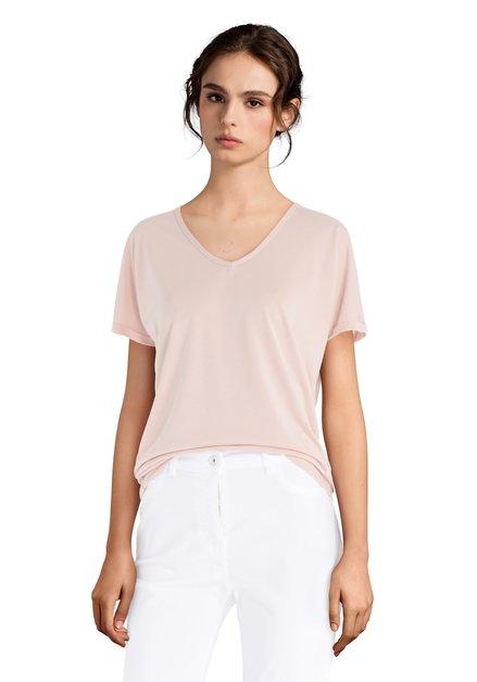 T-shirt rose clair avec col en V