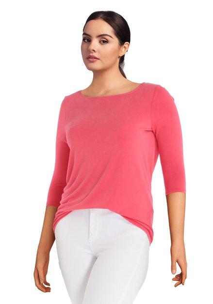 T -shirt rose corail avec décolleté dans le dos
