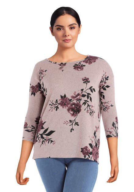 T-shirt rose foncé à motif fleuri noir
