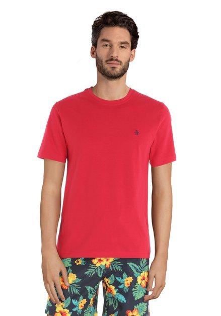 T-shirt rouge avec logo sur la poitrine