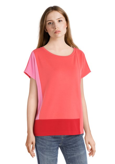 T-shirt rouge corail avec accent rose