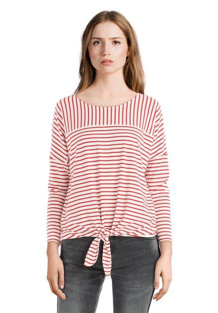 T-shirt rouge ligné avec nœud
