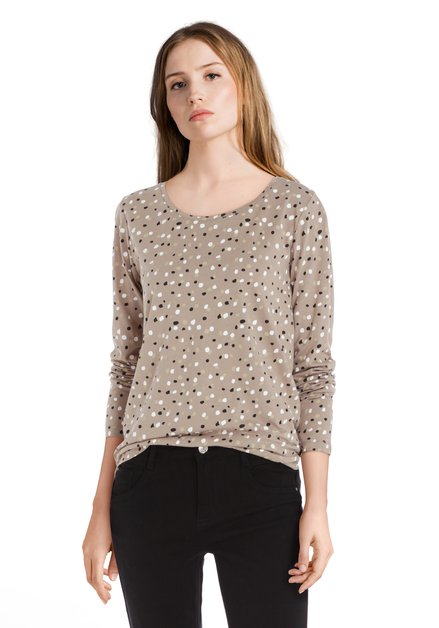 T-shirt taupe avec ronds