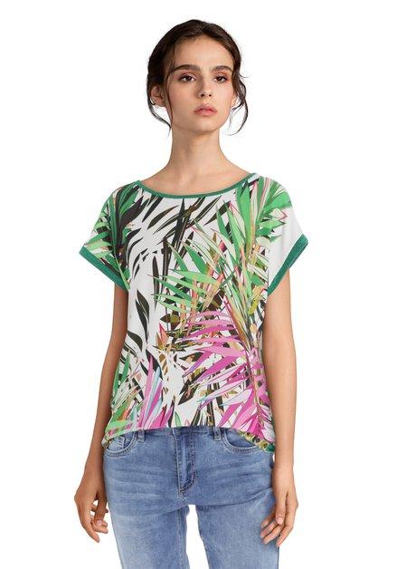 T-shirt vert à imprimé à feuilles et lurex