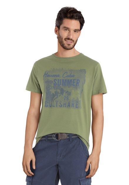"""T-shirt vert à motif """"Havana, Cuba"""""""
